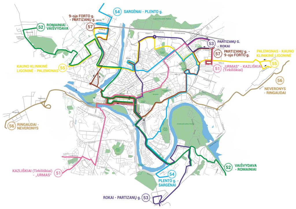 Maršrutinių taksi žemėlapis