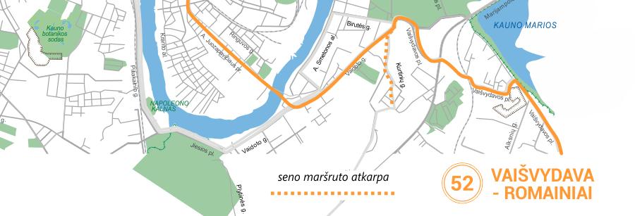 52 maršruto pakeitimas Onkologijos ligoninė maršrutiniai taksi Kaune