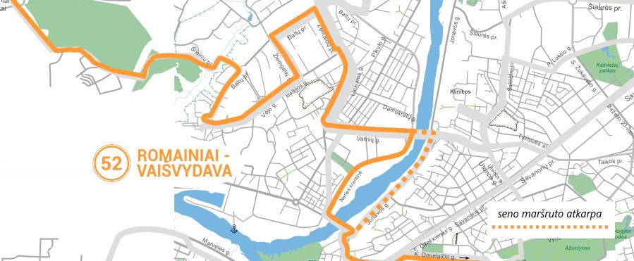 52 maršrutinio taksi trasos pakeitimas Kauno mieste