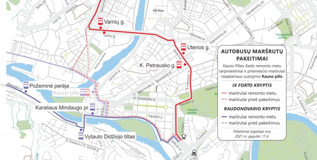 maršrutų pakeitimų žemėlapis